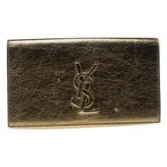 Saint Laurent Mettalic Gold Patent Leather Belle De Jour Flap Clutch
