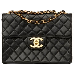 1994 Chanel Black Quilted Lambskin Vintage Jumbo XL Flap Bag