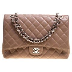 Chanel Pale Taupe Quilted Leather Maxi Classic Single Flap Bag