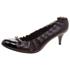 Chanel Brown/Black Leather Cap Toe Pumps Size 38