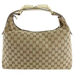 Gucci Ivory Monogram Canvas Horsebit Hobo Bag
