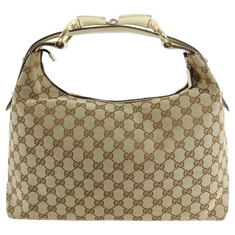 60a3a252278 Gucci Ivory Monogram Canvas Horsebit Hobo Bag For Sale at 1stdibs
