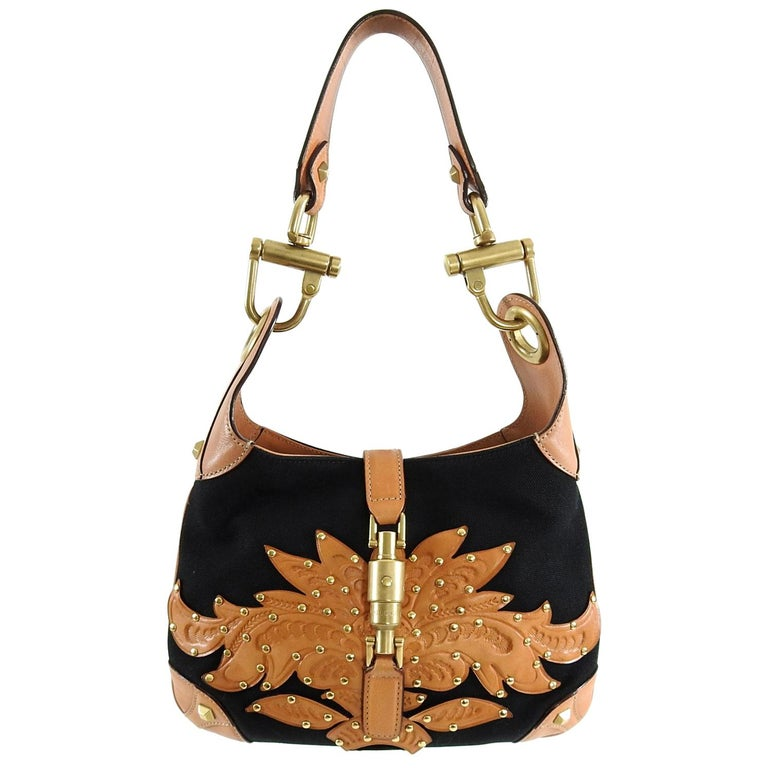 09a0e826d0 Gucci Small Black Canvas and Brown Tooled Leather New Jackie Bag For Sale