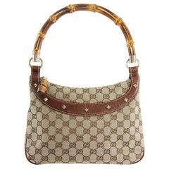 Gucci Brown Monogram Canvas Bamboo Handle Shoulder Bag