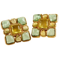 Chanel Aqua Square Gripoix Clip On Earrings