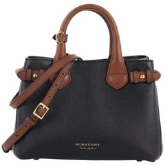 Burberry Banner Convertible Tote Leather and House Check Canvas Mini