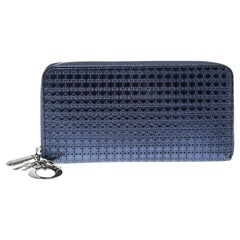 Dior Metallic Blue Patent Leather Lady Dior Zip Around Wallet