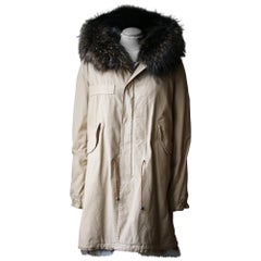 Mr & Mrs Italy Army Parka Jacket with Coyote and Raccoon Fur