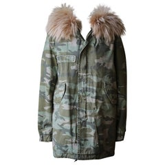 Mr and Mrs Italy Raccoon Fur Trimmed Camo Parka Jacket