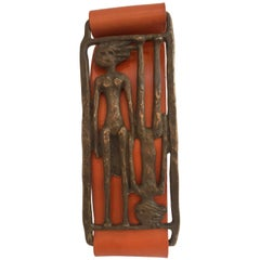 One-of-a-Kind Adam and Eve Bronze Buckle Hermes style Orange Leather Belt