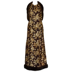 1960's Haute Couture Jacques Heim Sequin Fur Trimmed Evening Gown