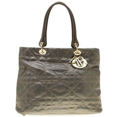 Dior Metallic Grey Cannage Coated Canvas Soft Lady Dior Tote
