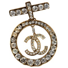 Chanel Crystal CC Large Circle Brooch Pin