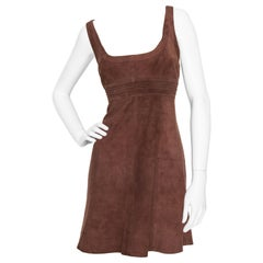 A 1990s Vintage Claude Montana Brown Suede Mini Dress