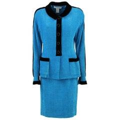 1990S Karl Lagerfeld Blue Wool Skirt Suit