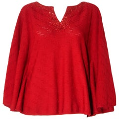 St. John Red Poncho Style Top