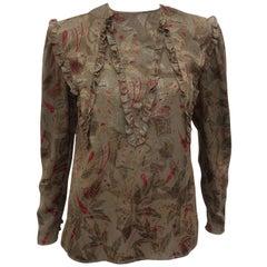 Vintage Italian Silk Jacquard Blouse With Ruffled Bib