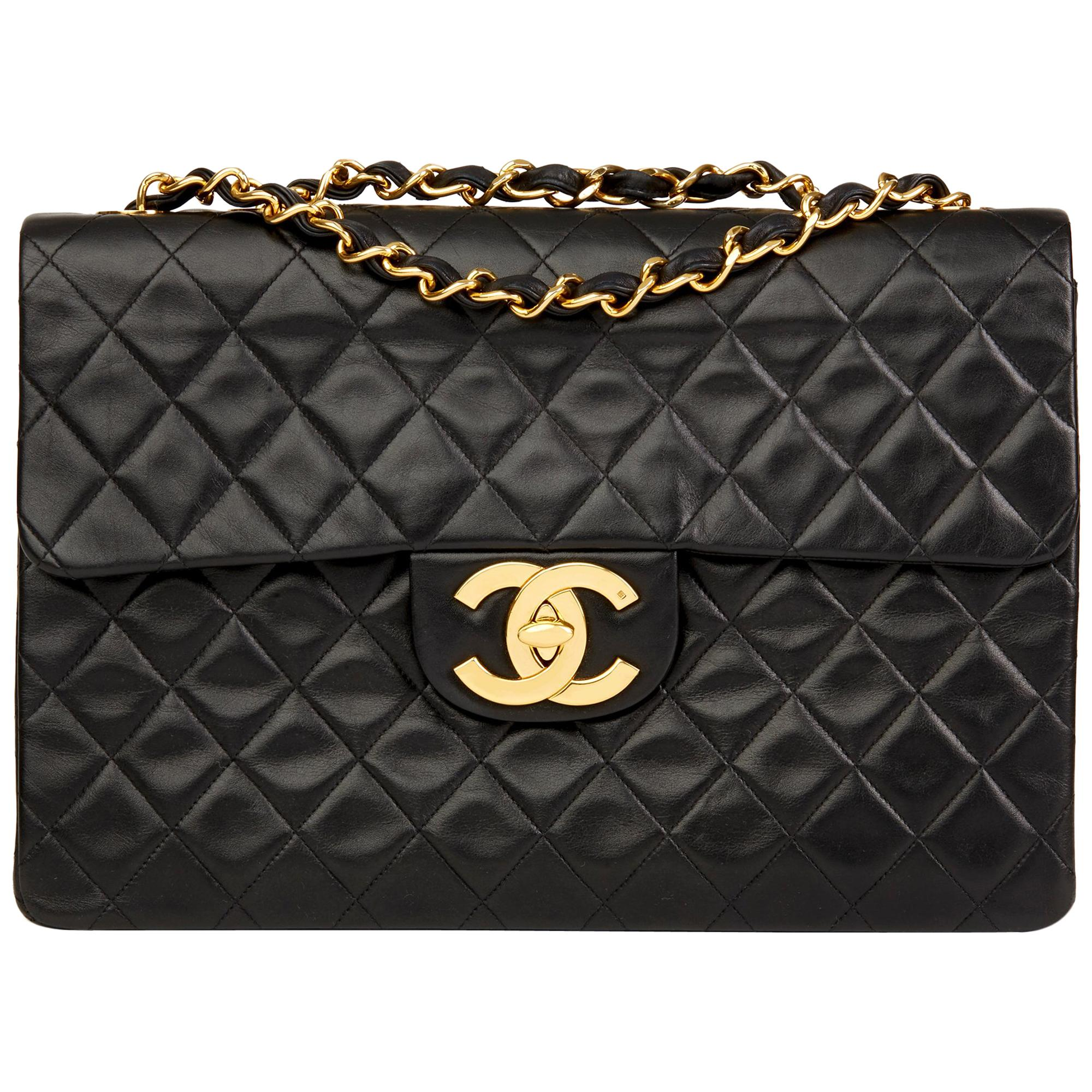 ac1a990492c4 1995 Chanel Black Quilted Lambskin Vintage Medium Paris Limited Double Flap  Bag For Sale at 1stdibs