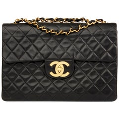 1991 Chanel Black Quilted Lambskin Vintage Maxi Jumbo XL Flap Bag