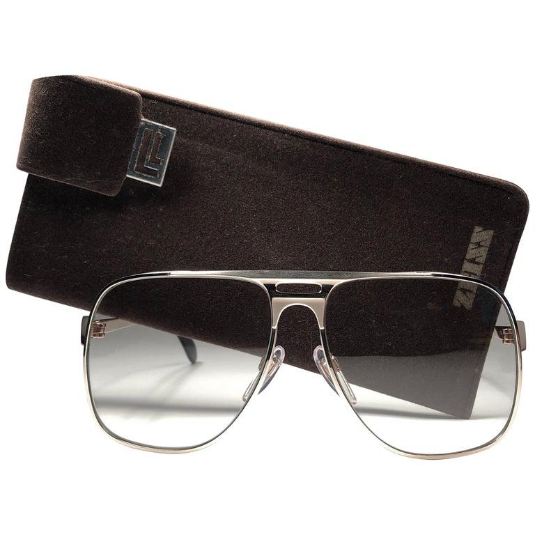 New Vintage Zeiss Gold Oversized Frame Changeable Lenses 1970's Sunglasses For Sale