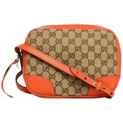 Gucci Orange Leather/GG Monogram Bree Crossbody Bag