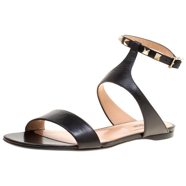 f7cc508f2 Valentino Black Leather Rockstud Ankle Strap Flat Sandals Size 39.5 For Sale