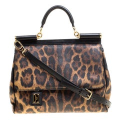 1bf253236b16 Dolce and Gabbana Brown Leopard Print Coated Canvas Miss Sicily Top Handle  Bag