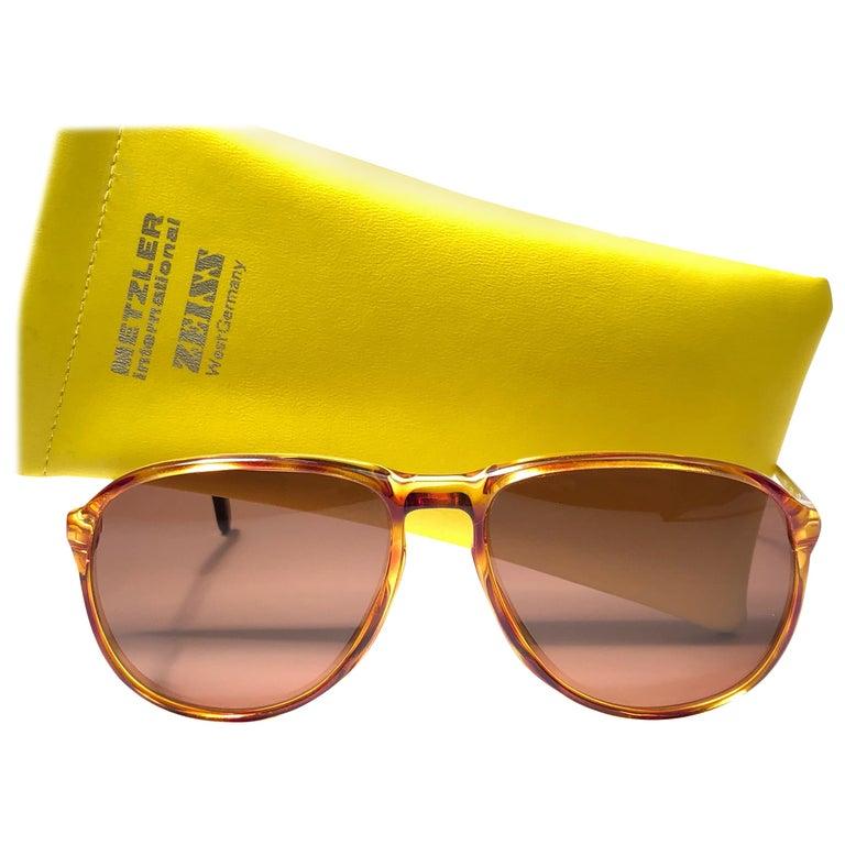 New Vintage Zeiss Tortoise Frame Brown Lenses 1970's Sunglasses For Sale