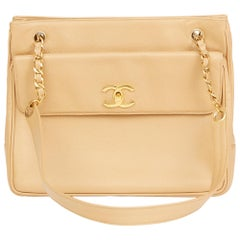 1994 Chanel Beige Caviar Leather Vintage Shoulder Bag