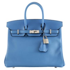 Hermès Blue Paradise Swift Leather 25 cm Birkin Bag