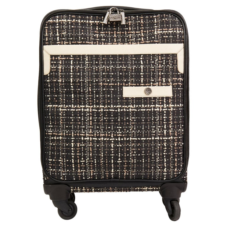 2016 Chanel Black Tweed & Caviar Leather Jacket Trolley Rolling Suitcase For Sale