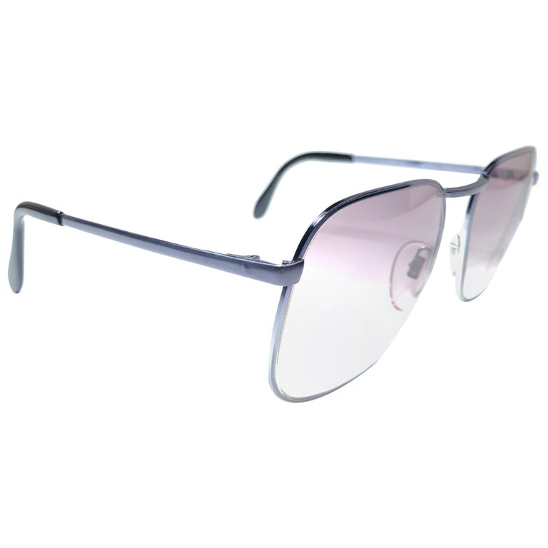 Vintage Rare Neostyle Silver Matte Grey Changeable Lenses 1970 Sunglasses For Sale