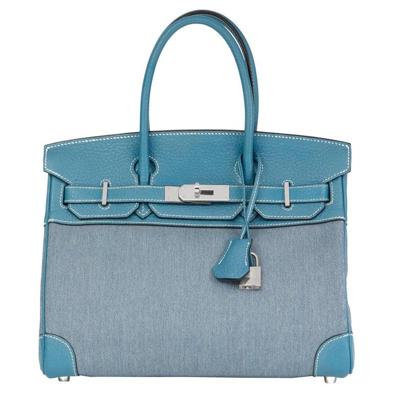 2007 Hermès Blue Jean Clemence Leather & Denim Birkin 30cm For Sale
