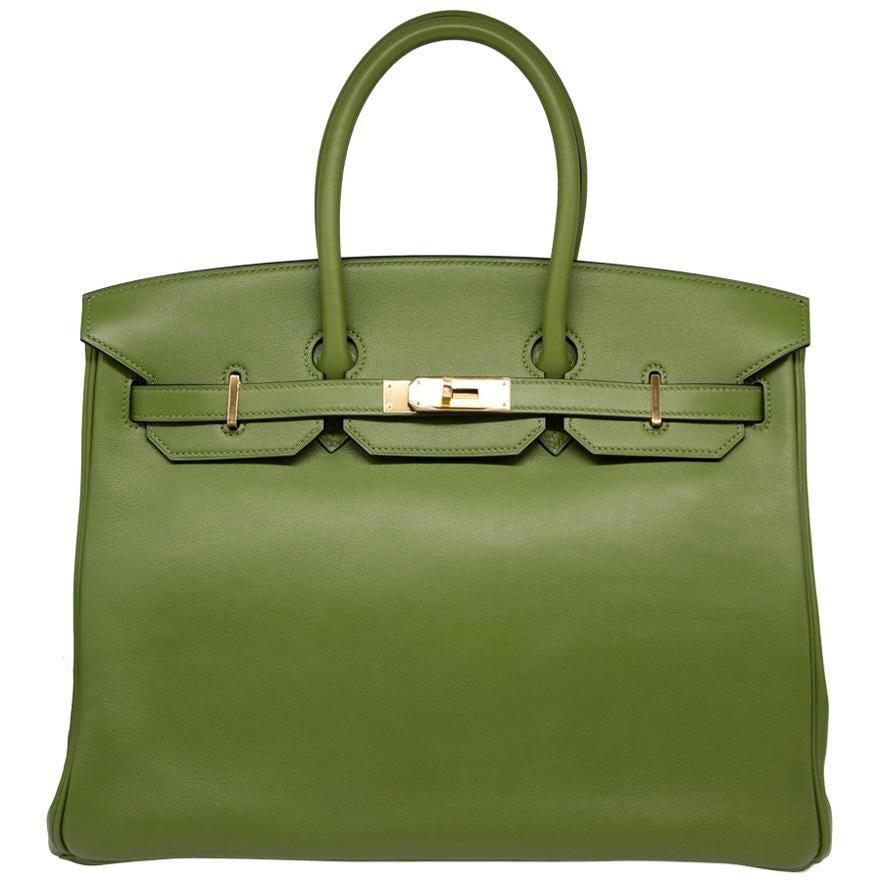 2ab2e51abe Hermès Lime Green Ostrich Leather Birkin 30cm at 1stdibs
