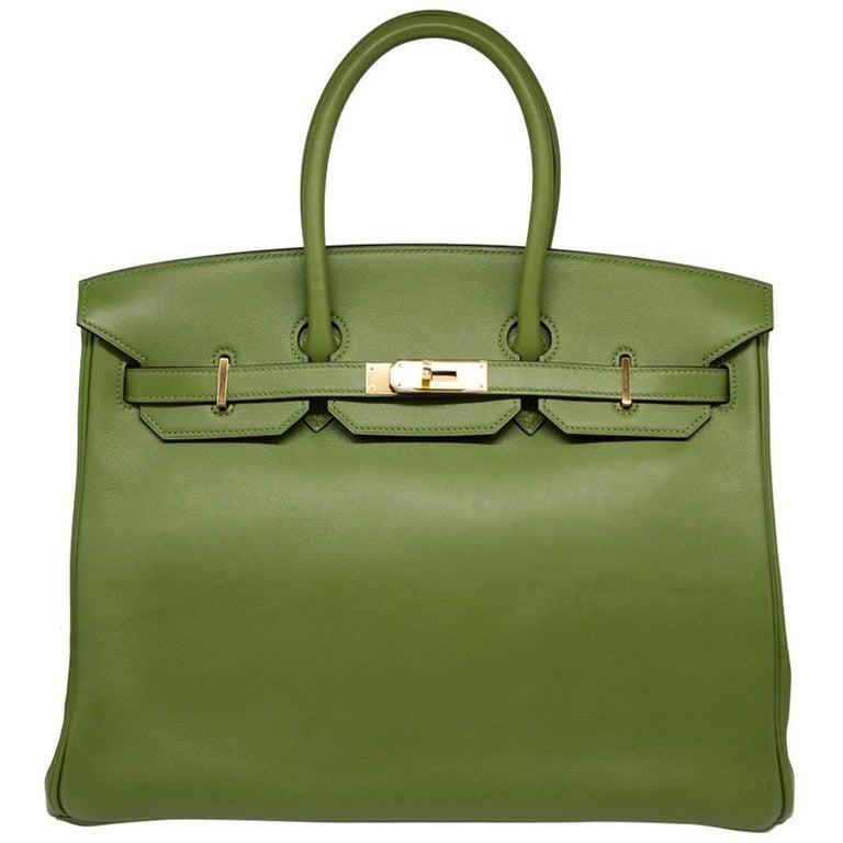 81bd88c0826a Hermes Pelouse Green Swift Leather 35cm Birkin Bag For Sale at 1stdibs