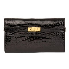 2017 Hermès Black Shiny Mississippiensis Alligator Leather Kelly Long Wallet