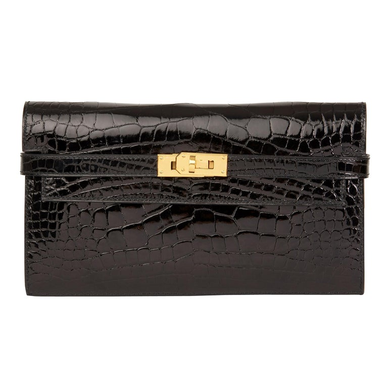 2017 Hermès Black Shiny Mississippiensis Alligator Leather Kelly Long Wallet  For Sale
