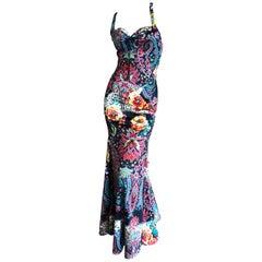 Roberto Cavalli for Just Cavalli Colorful Vintage Racerback Mermaid Dress