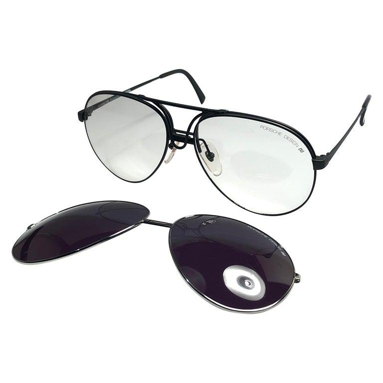 5e342a8a2ff26 New Vintage Porsche Design 56 Silver Oversized Aviator Sunglasses Austria  For Sale