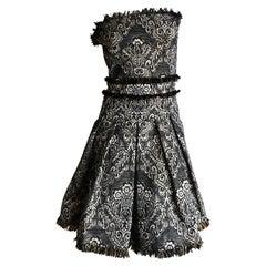 D&G Dolce & Gabbana Vintage Tapestry Print Mini Dress w Full Corset Lining Sz 46