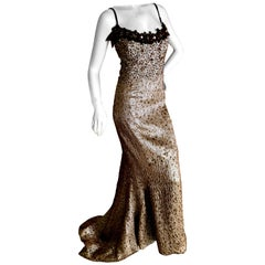 Carolina Herrera Gold Embellished Evening Gown in Hard to Find Size 14