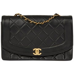 2000 Chanel Black Quilted Lambskin Vintage Medium Diana Classic Single Flap Bag