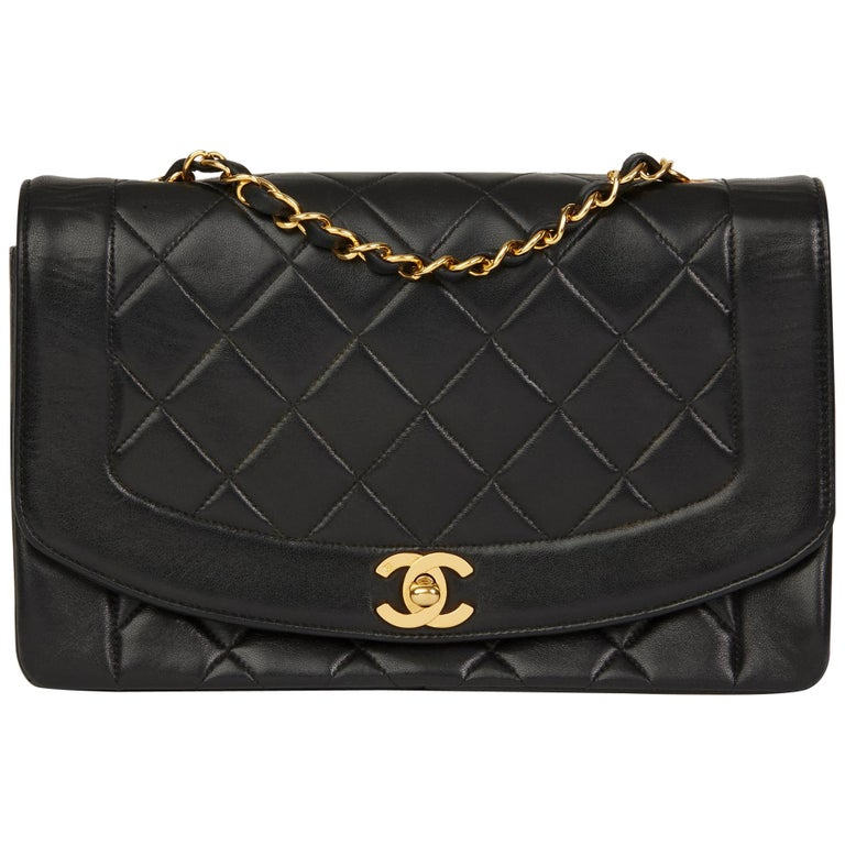 070e96e1e8d 2000 Chanel Black Quilted Lambskin Vintage Medium Diana Classic Single Flap  Bag For Sale