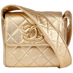 1994 Chanel Gold Quilted Metallic Lambskin Vintage Logo Shoulder Flap Bag