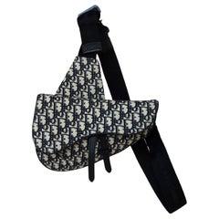 Christian Dior 2018 Blue Monogram Kim Jonnes Oblique Saddle Bag