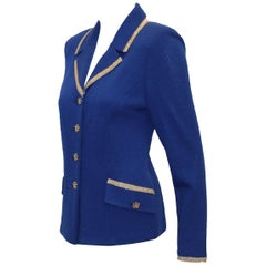 St. John by Marie Gray Electric Blue Beaded Trim Jacket