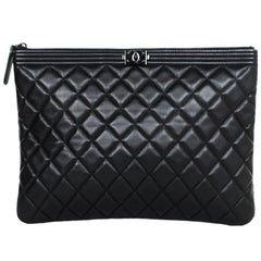 Chanel Quilted Lambskin Leather So Black Boy O'Case Pouch/Clutch Bag
