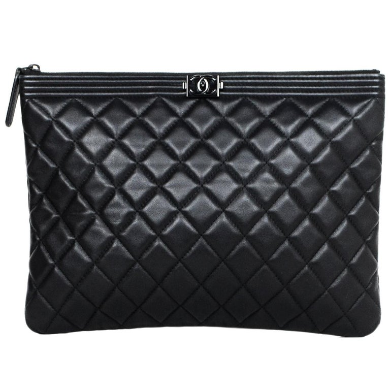 c3f8fbcf0b57 Chanel Quilted Lambskin Leather So Black Boy O Case Pouch Clutch Bag For  Sale