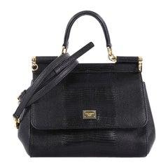 Dolce & Gabbana Miss Sicily Handbag Lizard Embossed Leather Small