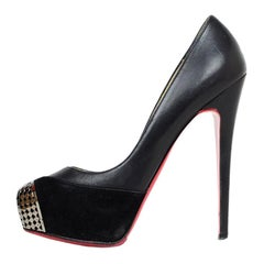 Christian Louboutin Black Leather/Suede Maggie 160 Pump VIP Chain Sz 38.5